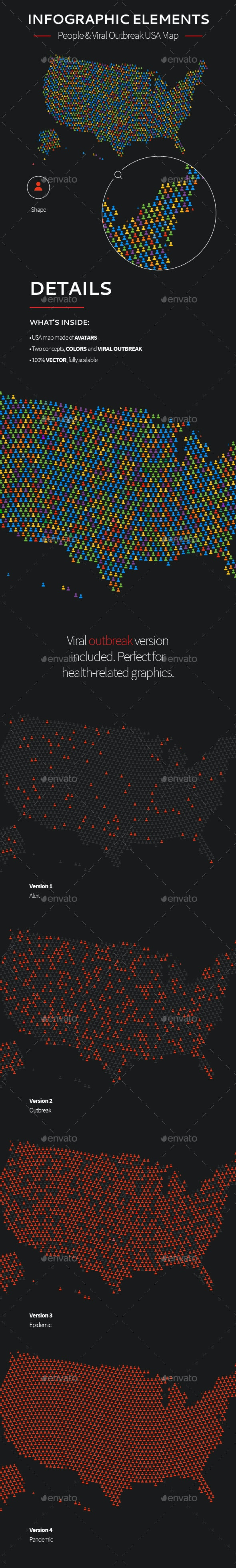 Vector Infographic Map Elements—USA - Infographics