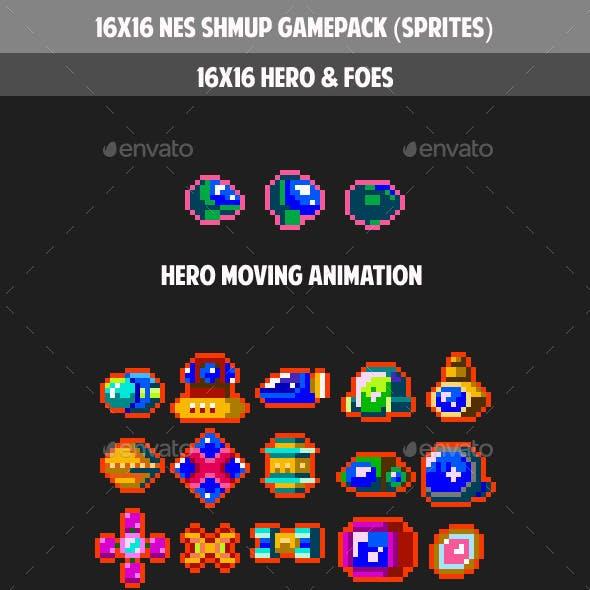 16x16 NES SHOOT THEM UP GAMEPACK(sprites)