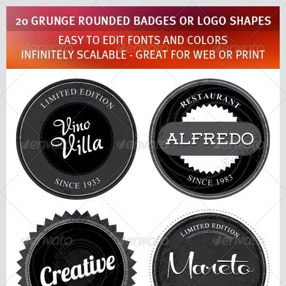 20 Grunge Rounded Badges or Logo Shapes