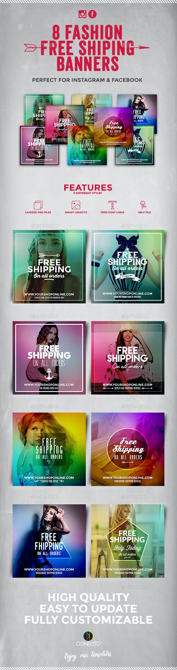 8 Instagram Banners - Free Shipping - Banners & Ads Web Elements