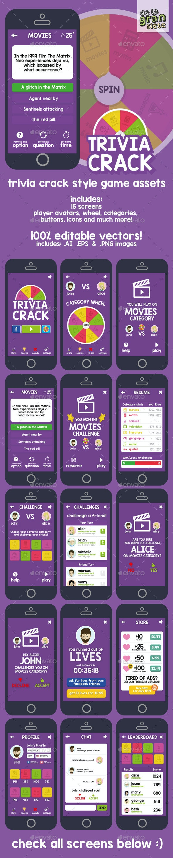 Trivia Crack Game Graphic Assets by DeLaGranSiete   GraphicRiver