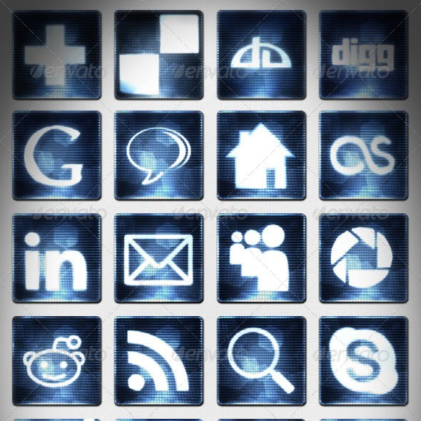 25 Digital Social Media Icons Set