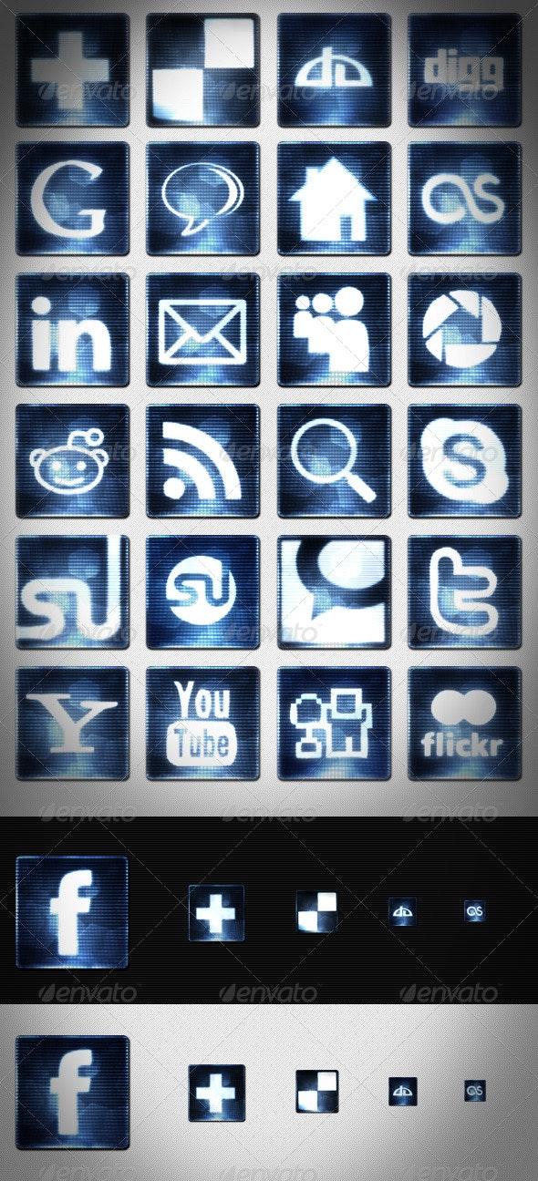 25 Digital Social Media Icons Set - Media Icons