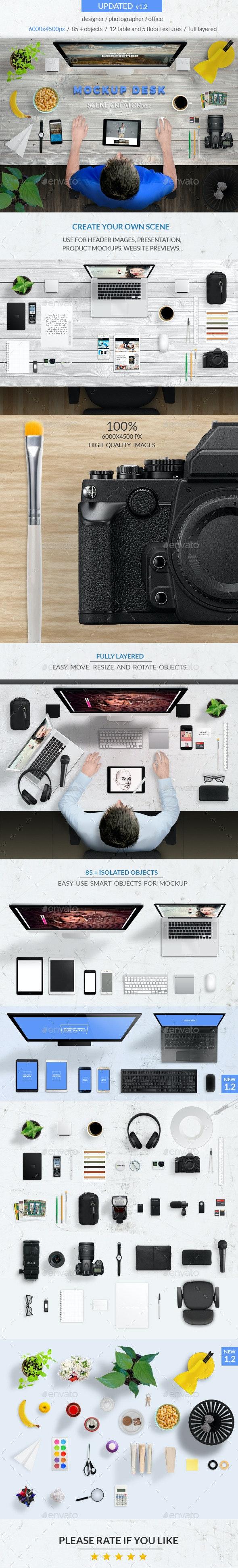 Mockup Desk Scene Creator - Hero Images Graphics