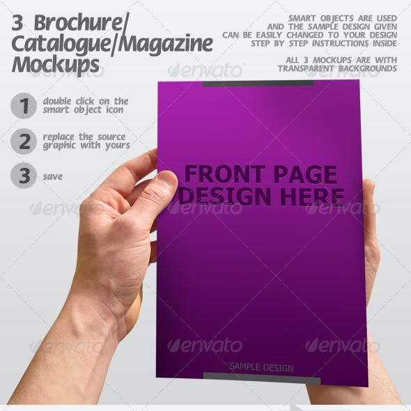 3 Brochure / Catalogue / Magazine Mockups