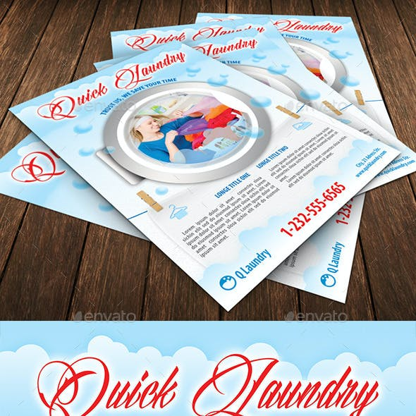 Quick Laundry Service Flyer Template 111