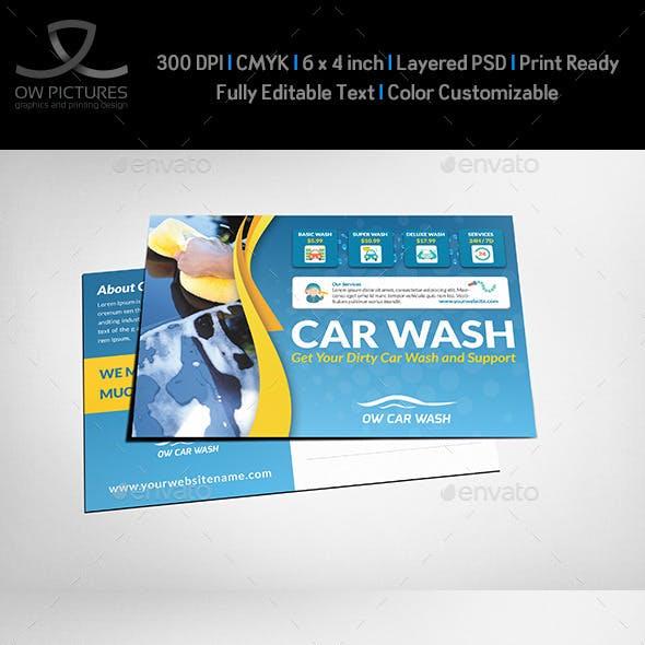 Car Wash Services Postcard Template