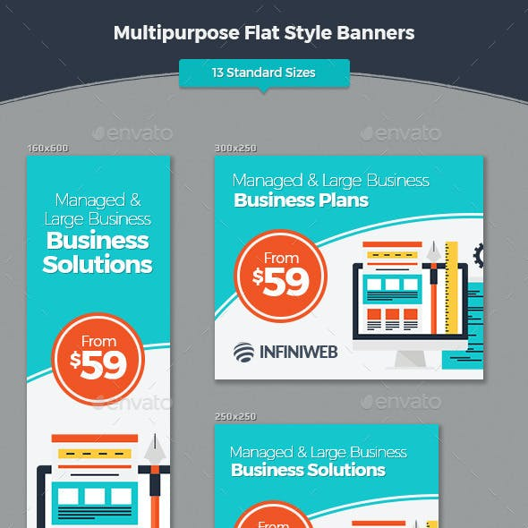 Multipurpose Flat Style Banners
