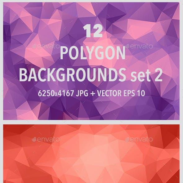 12 Polygonal Backgrounds Set 2