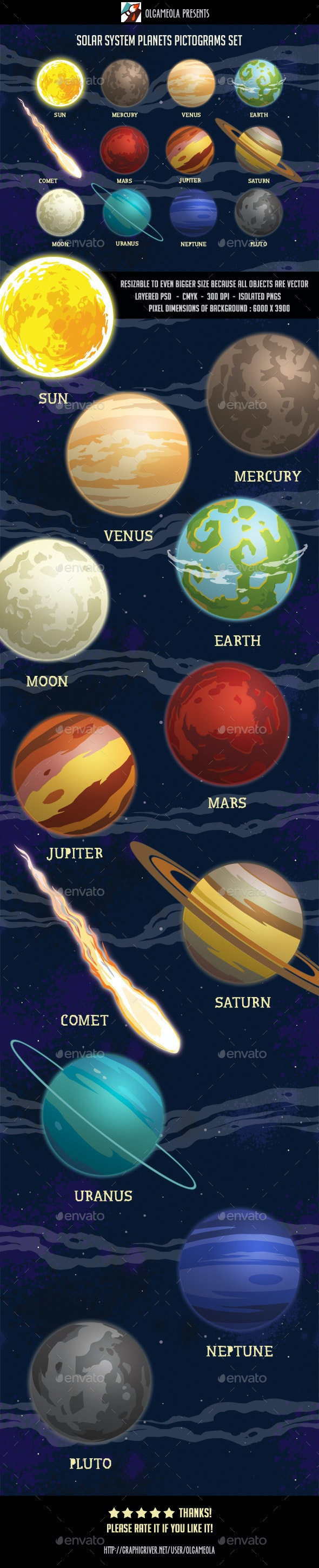 Solar System Planets Pictograms Set - Objects Illustrations