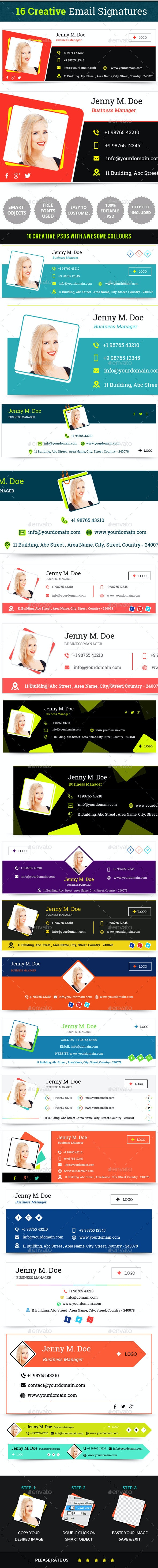 Email Signature Templates- Creative 16 Designs - Miscellaneous Web Elements