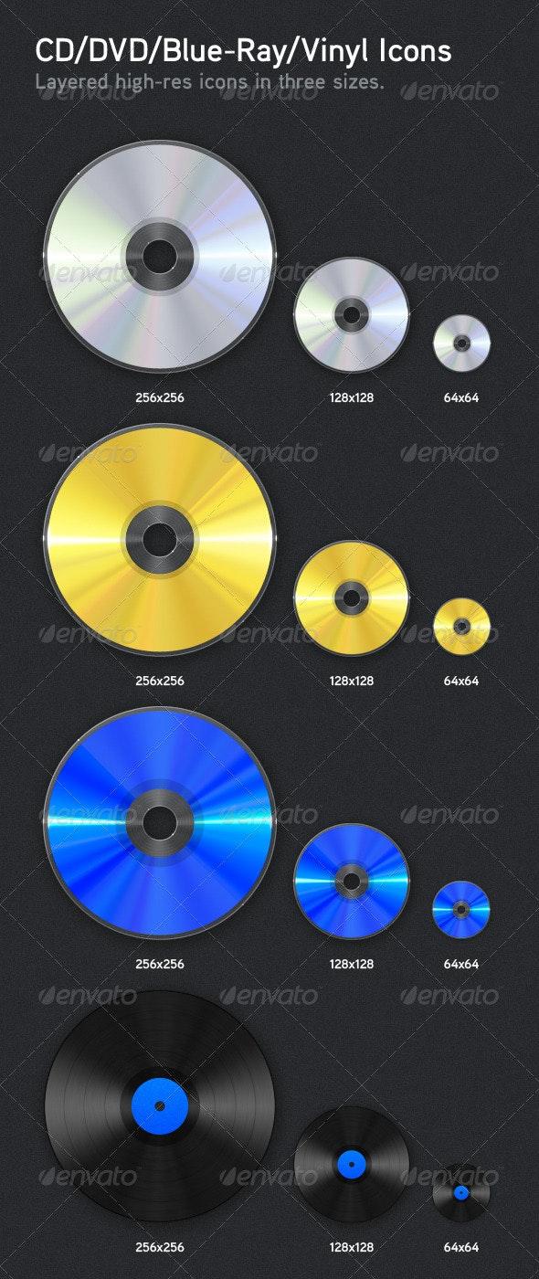CD/DVD/Blue-Ray/Vinyl Icons