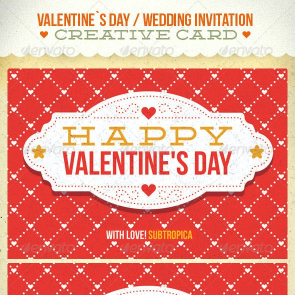 Valentine's Day And Wedding Invitation Postcard