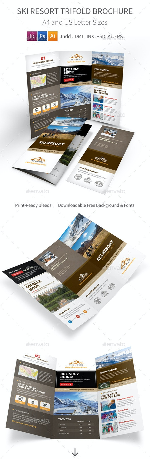 Ski Resort Trifold Brochure - Informational Brochures