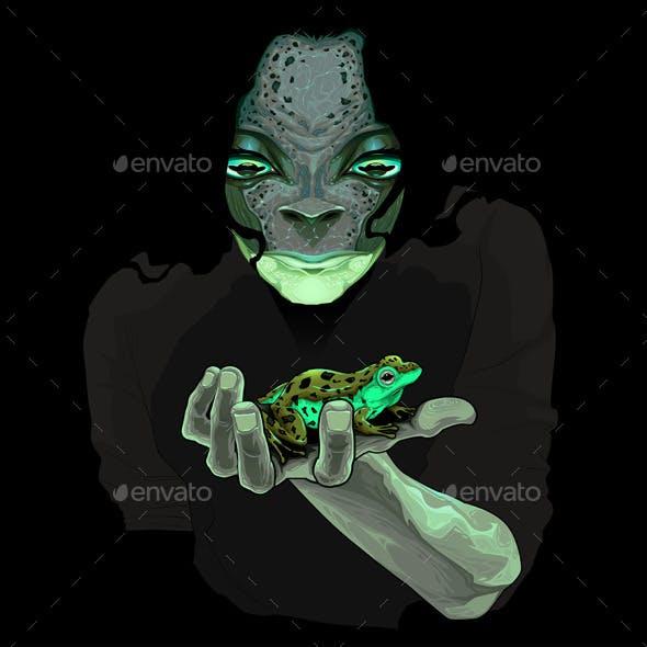 Metamorphosis Monster Guy with a Frog