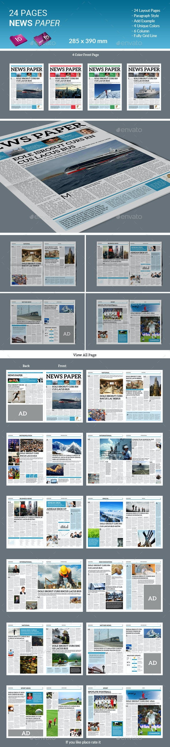 24 Pages Newspaper - Newsletters Print Templates