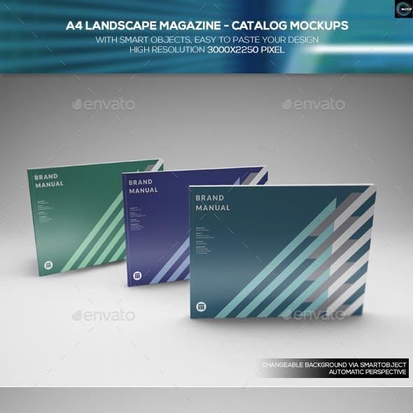 A4 Landscape Magazine - Catalog Mockups