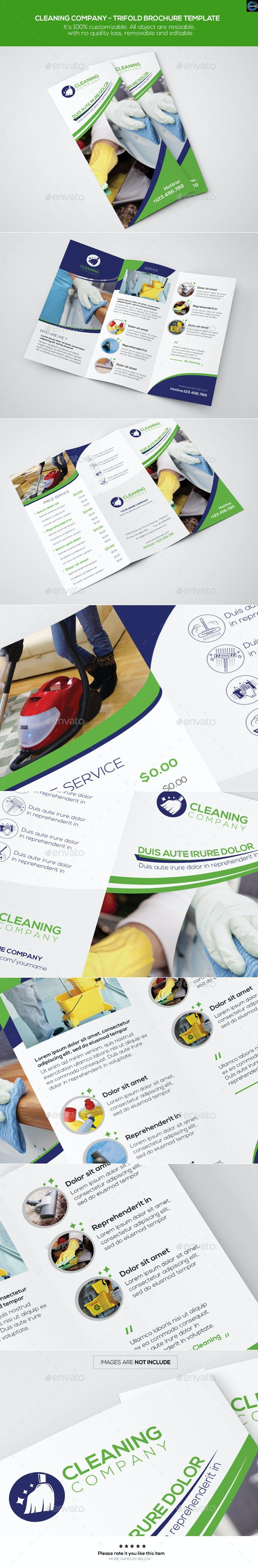 Cleaning Company - Trifold Brochure Template - Corporate Brochures