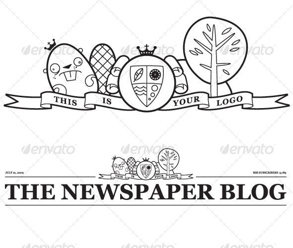 Vector Newspaper Blog Header - Web Technology