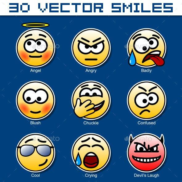 Set of 30 Circular Yellow Smiles