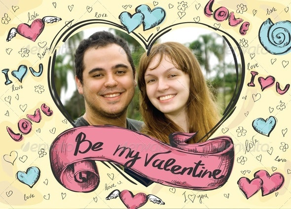 Valentines Day Card with a Photo, Hand Made Style - Holiday Greeting Cards