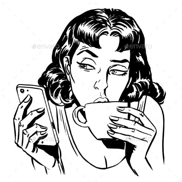 Morning Girl Coffee Tea Phone