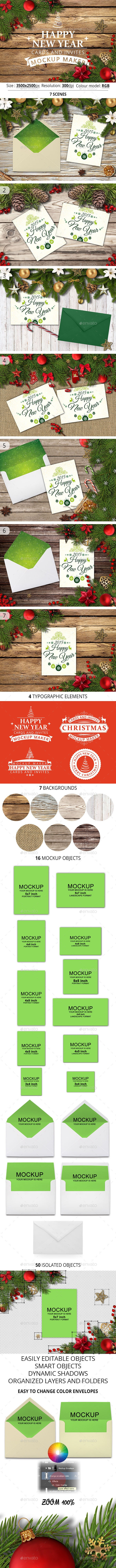 Happy New Year Cards And Invites Mockup Maker - Hero Images Graphics