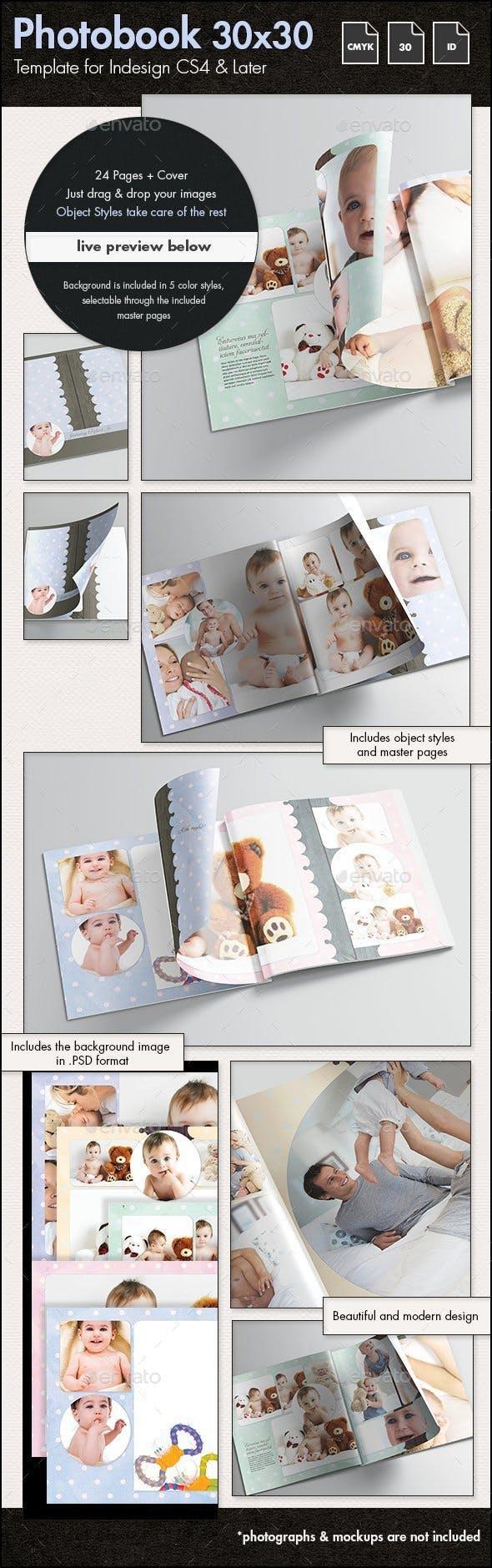 Photobook Family Memories Album Template - 30x30cm