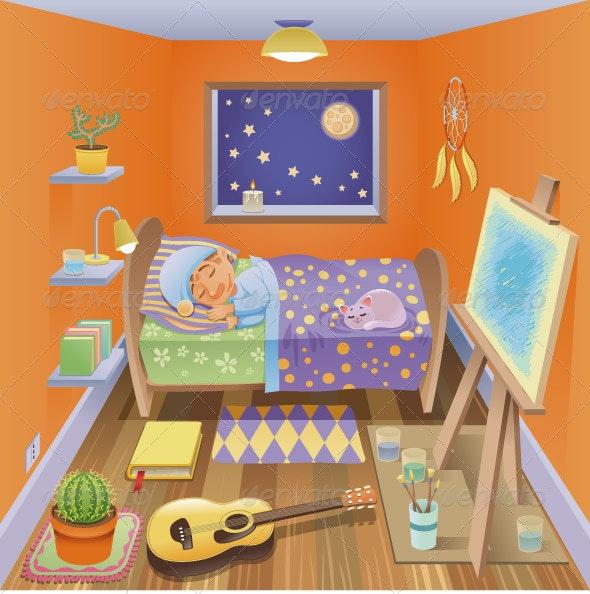 Boy is sleeping in his bedroom. - People Characters