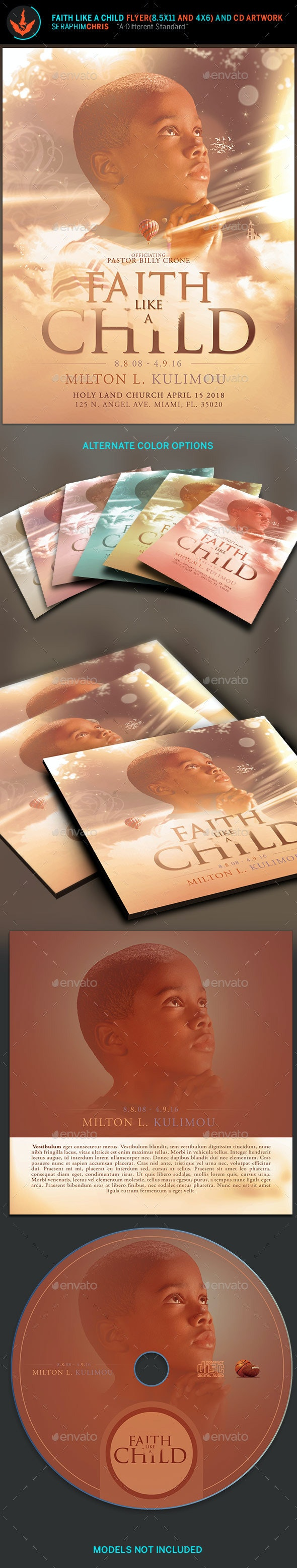Faith like a Child Flyer and CD Artwork Template - Church Flyers