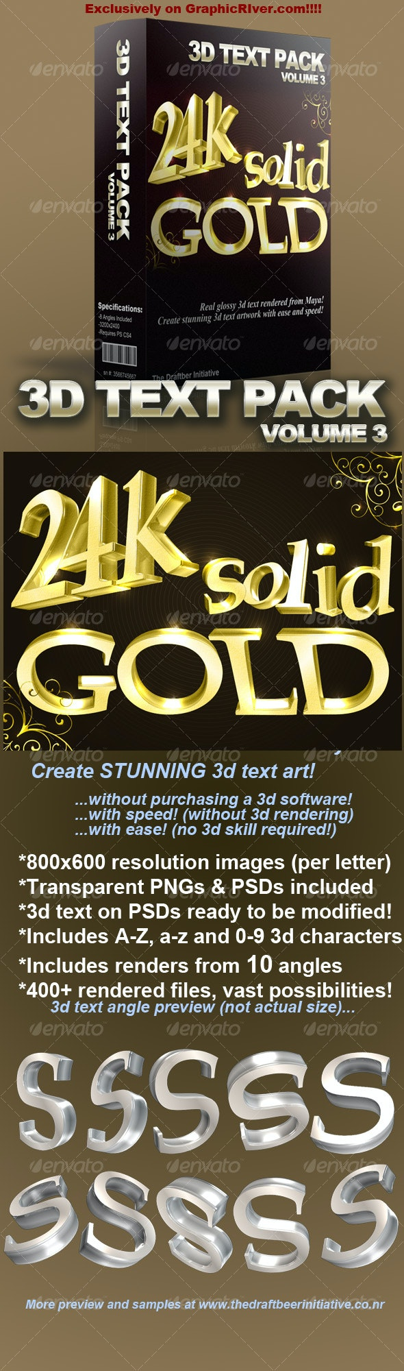Glossy 3D Text Pack Volume 3 - 3D Backgrounds