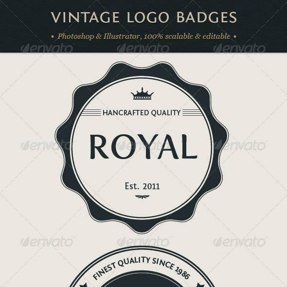 Vintage Logo Badges Set