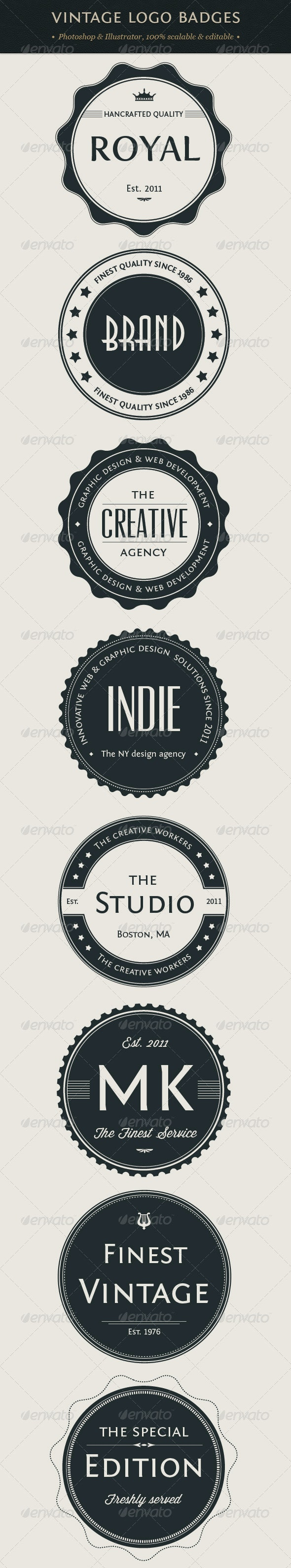 Vintage Logo Badges Set - Badges & Stickers Web Elements