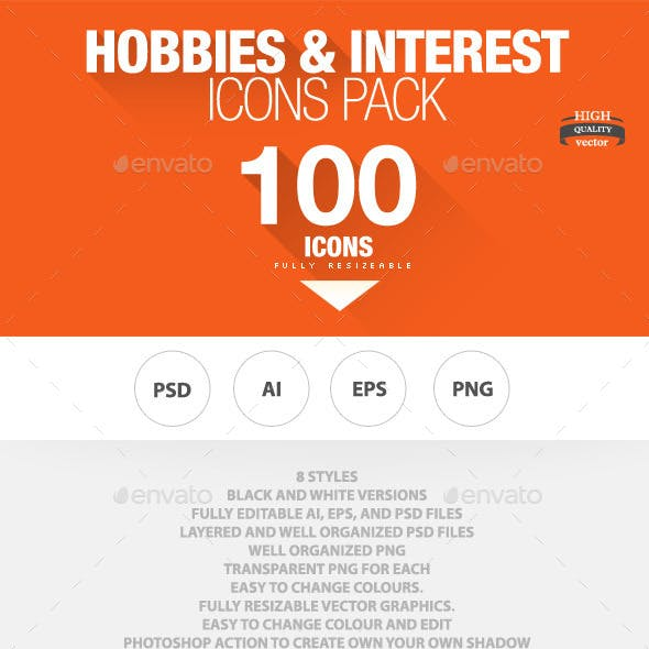 100 - Hobbies and Interests Icons