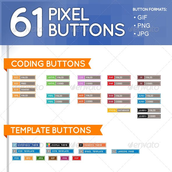 61 Pixel Buttons (Web Elements)
