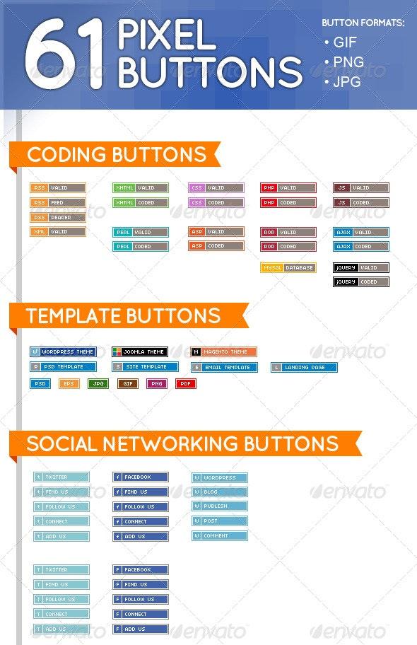 61 Pixel Buttons (Web Elements) - Buttons Web Elements