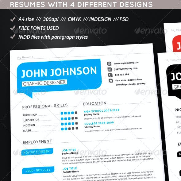 Set Of Modern Resumes
