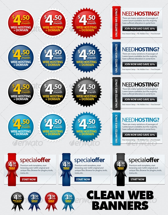Clean Web Banners - Web Elements