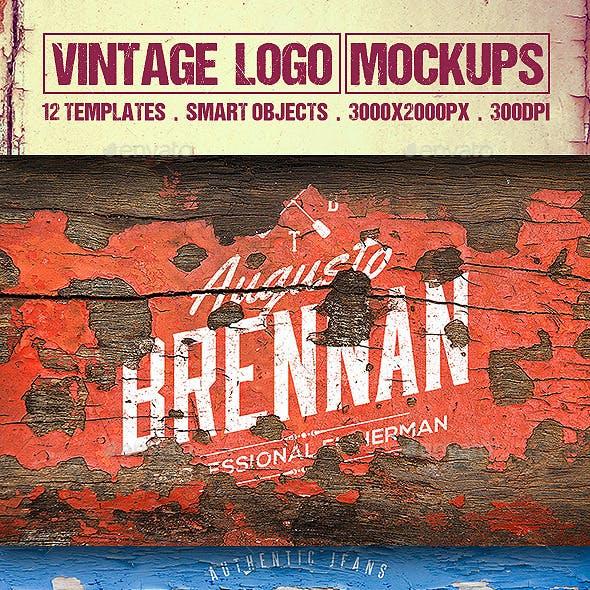 12 Vintage Logo Mockups Vol.2