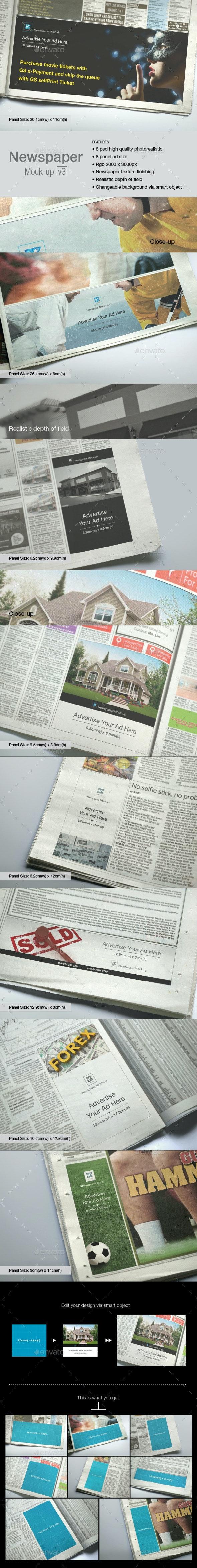 Newspaper Mock-up v3 - Print Product Mock-Ups
