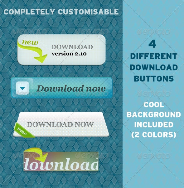 4 Different Download Buttons - Buttons Web Elements