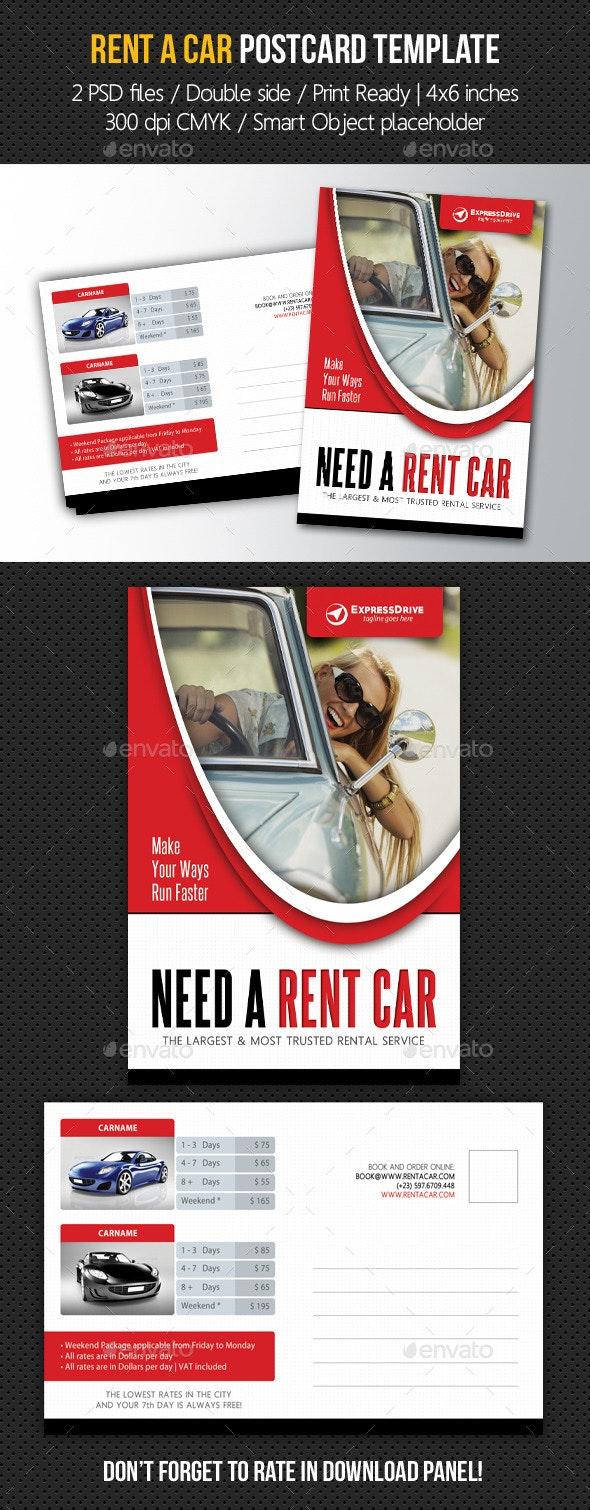 Rent A Car Postcard Template V02 - Cards & Invites Print Templates