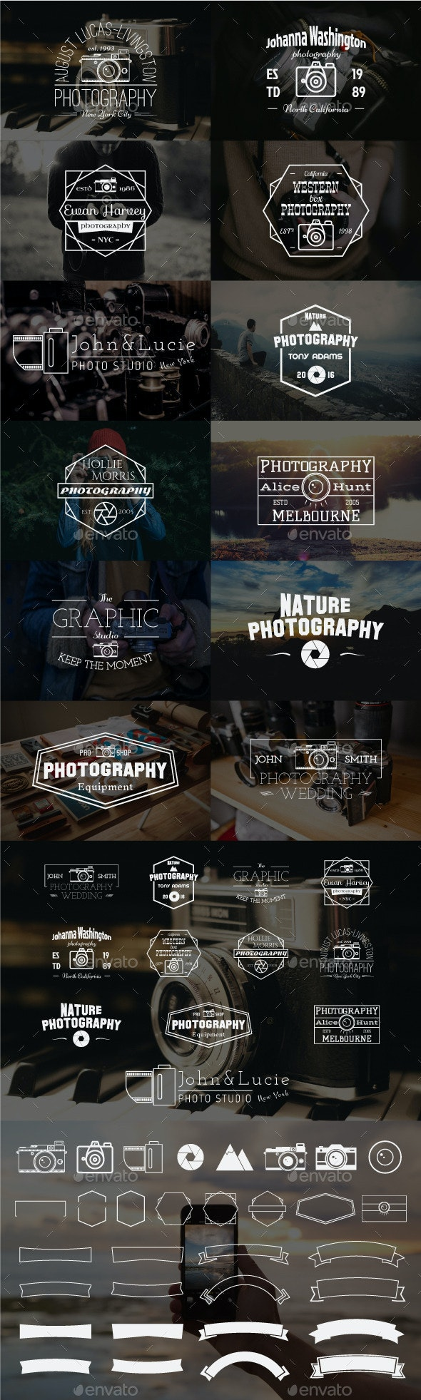 12 Vintage Photography Badges - Badges & Stickers Web Elements