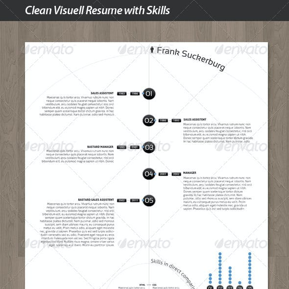 Clean Visuell Resume with Skills Compare