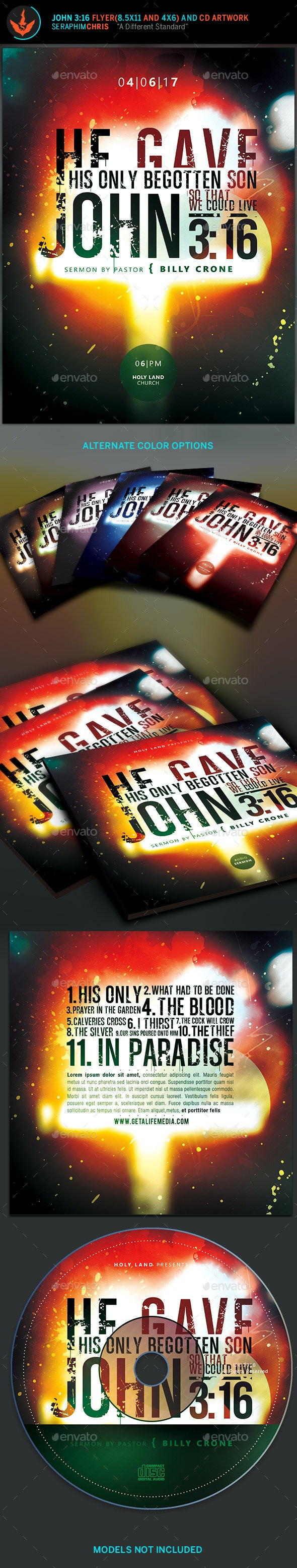John 3:16 Typography Flyer and CD Template - Church Flyers