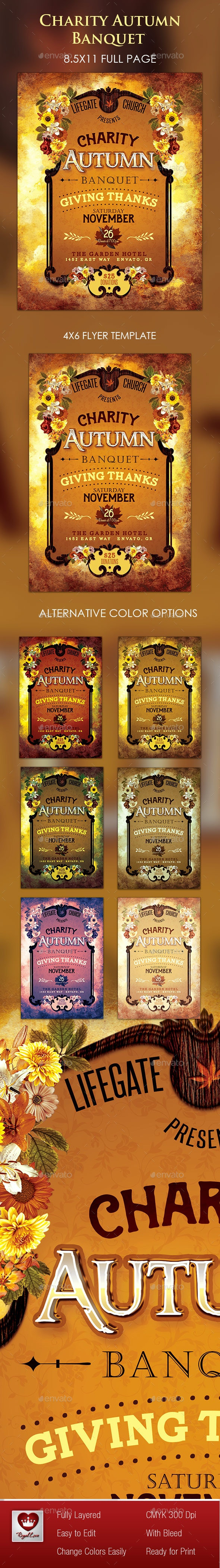 Charity Autumn Banquet Flyer - Holidays Events