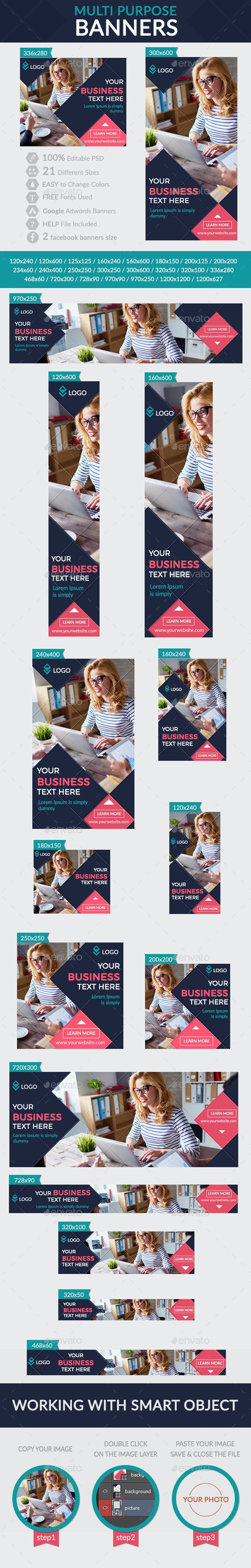 Multi Purpose Banners + Facebook banners - Banners & Ads Web Elements