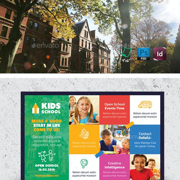 Kids School Postcard Templates