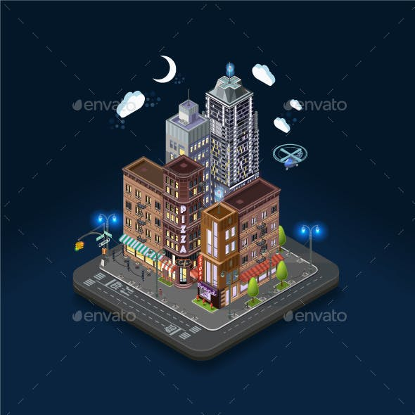 City Concept with Isometric Buildings