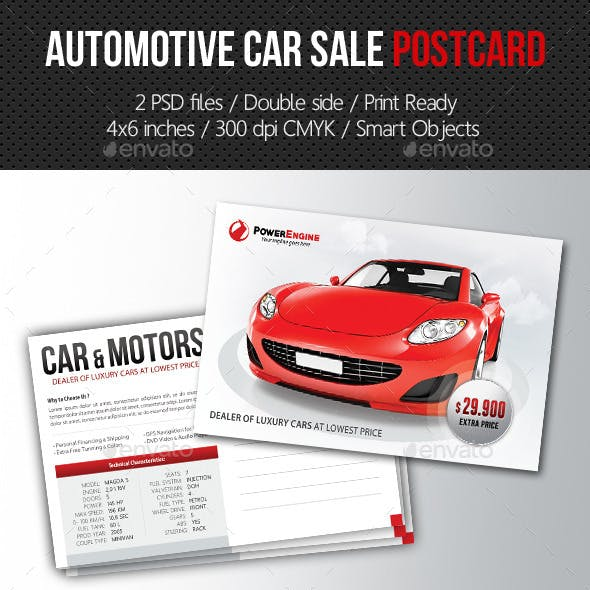Automotive Car Sale Postcard Template V01